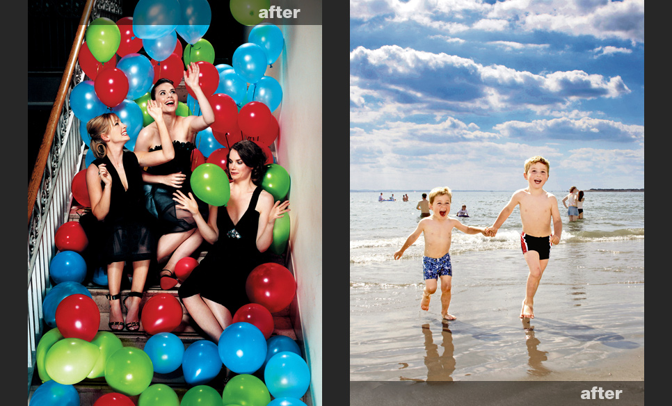 Boys on a beach and image brightened and warmed up, women with balloons enhanced and with balloons changed colour