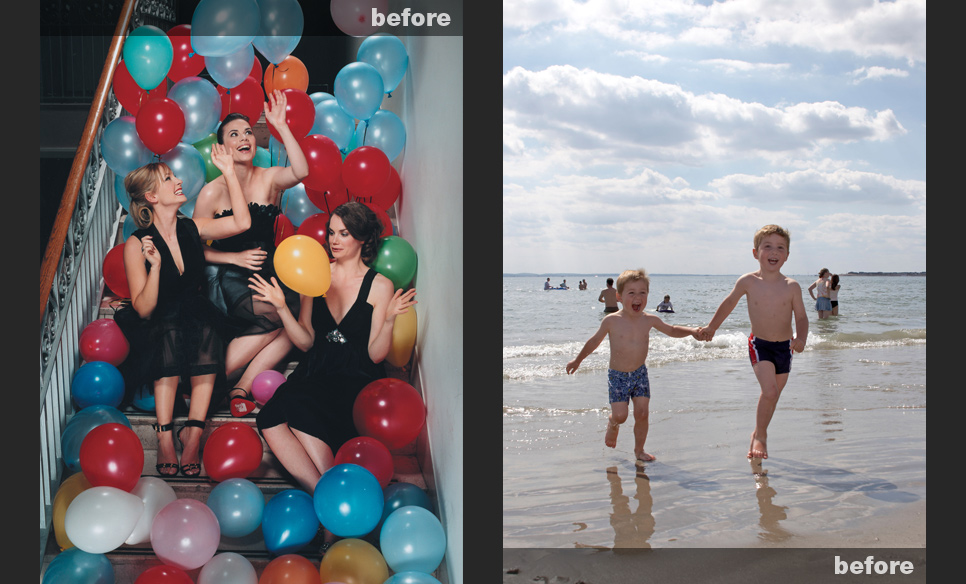 Dull flat image of boys on a beach and image of women with balloons that are the wrong colour
