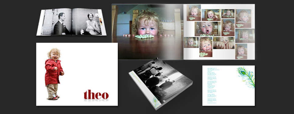 Book covers and pages from a Tennisons designed photo book