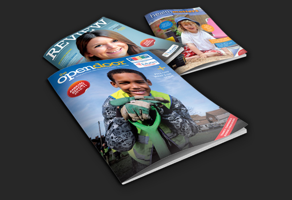 Examples of Tennisons commercial photography on the covers of magazines and brochures