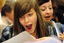 A school pupil gets her exam results