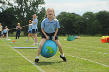 A pupil takes part in race at Kingsley Junior School's sports day
