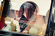 Ciara & Paul in the car on their wedding day