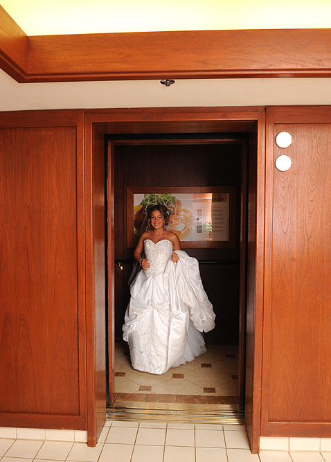 The bride leaving for the venue